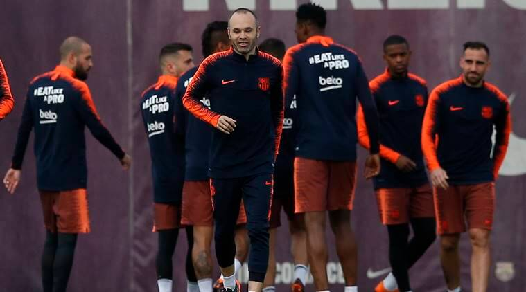 Barcelona's Andres Iniesta during training ahead of Real Madrid clash