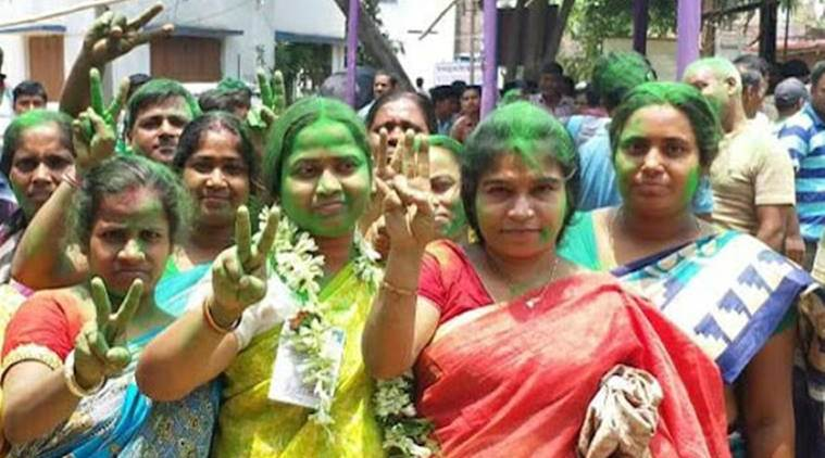 West Bengal Panchayat Election Results 2018 LIVE UPDATES: TMC women workers celebrate in Howrah's Uluberia on Thursday. (IE Bangla photo)