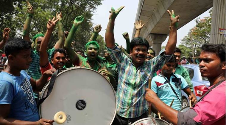 TMC workers and supporters rejoice over party's performance in the West Bengal Panchayat polls