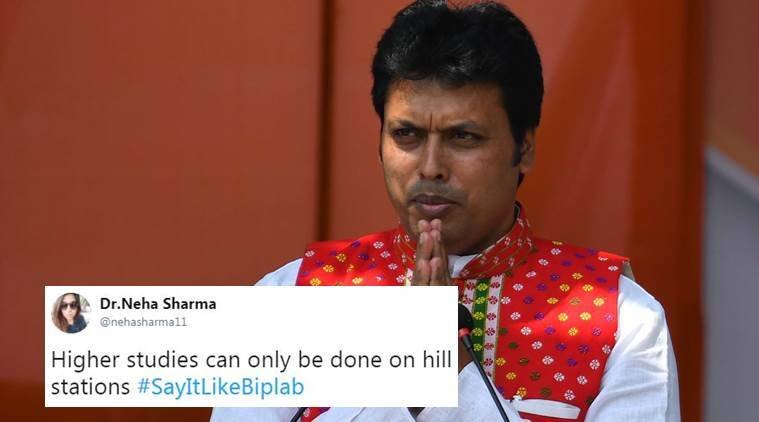 Biplab Deb, Biplab Deb comments, biplab deb civil engineers, biplab deb on internet, internet in mahabharat, biplab deb paan shops, biplab deb diana hayden, biplab deb controversies, twitter reactions, indian express, indian express news