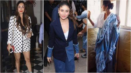 Bollywood Fashion Watch for May 24: Celebs play with cool blues; Sonam in distressed denim sari, Kareena in denim suit