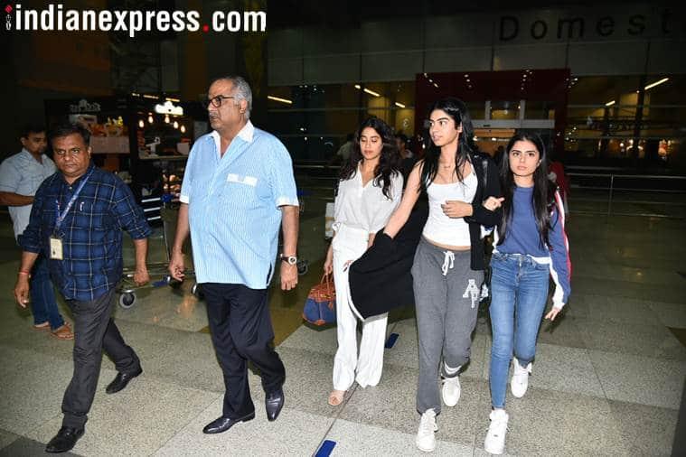boney kapoor in delhi with daughters Janhvi and Khushi