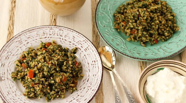 Brown rice recipes, Brown spinach rice, Brown spinach rice recipes, rice recipes, healthy rice recipes, brown rice recipes, indian express, indian express news