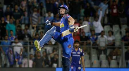 Rajasthan Royals Jos Buttler, celebrates after his team won their match against the Mumbai Indians