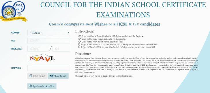 icse result 2018 how to check, cisce.org