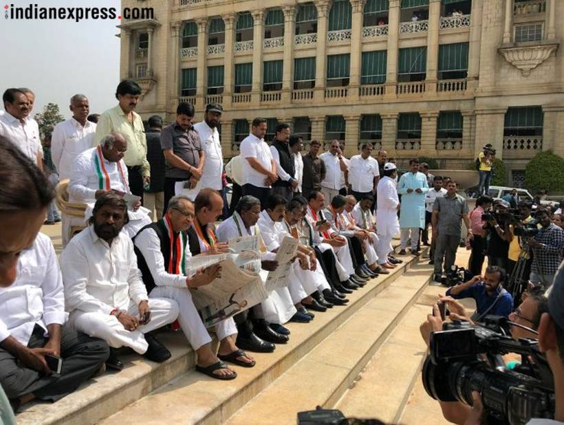 BS Yeddyurappa, Karnataka, Karnatala assembly election results 2018, Karnataka results, BSY swearing in, Bharatiya janata Party, Yeddyurappa sworn-in, yeddyurappa photos, indian national congress, Congress protests,