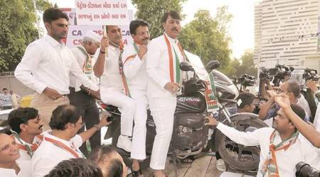 Gujarat: Congress protests fuel hike with 'mehangai' jibe at PM Modi