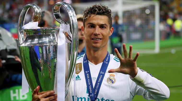 Image result for Ronaldo won a third successive Champions League title with Real Madrid in 2017-18