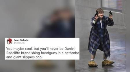 'Harry Potter and the Chamber of Bullets': Daniel Radcliffe's bizarre look in boxers and bear slippers goes crazy viral