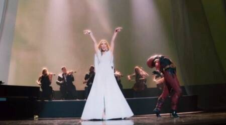 celine dion and ryan reynolds' deadpool in the music video ashes