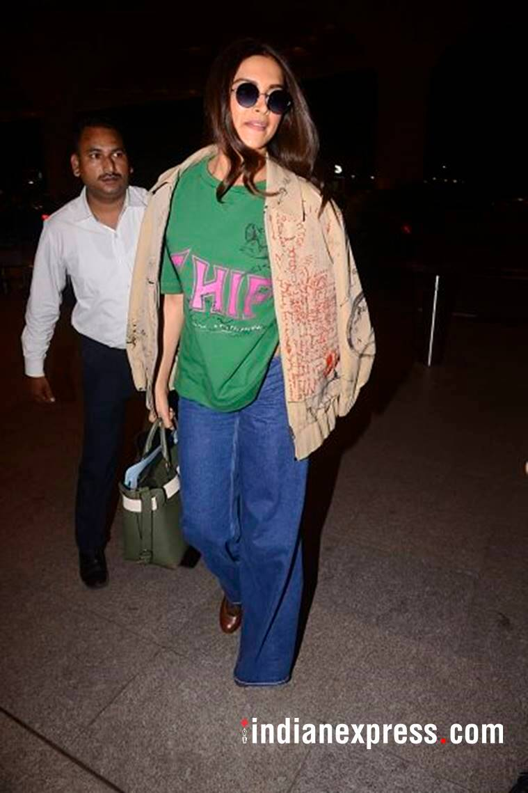 Deepika Padukone, Deepika Padukone airport fashion, Deepika Padukone Burberry, Deepika Padukone fashion, Deepika Padukone latest photos, Deepika Padukone coats, indian express, indian express news