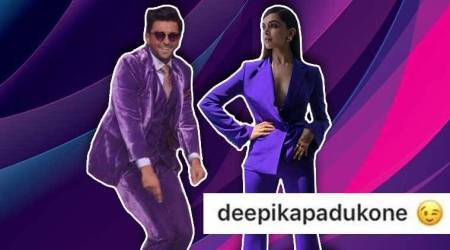 Canner 2018, Deepika Padukone, Deepika ranveer, Ranveer Singh, Deepika Padukone Ranveer Singh purple suit, deepika ranveer matching purple suit, Deepika Padukone Ranveer Singh same colour suit, indian express, indian express news