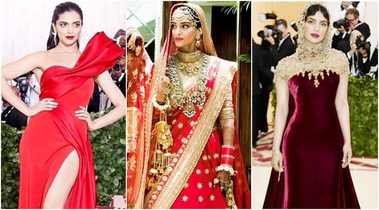 Deepika Padukone, Priyanka Chopra, Sonam kapoor, sonam kapoor anand ahuja wedding, met gala 2018, celeb fashion, bollywood fashion, indian express, indian express news