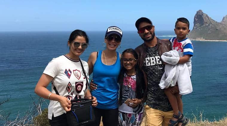 Shikhar Dhawan and his family on a holiday
