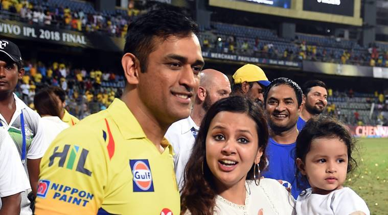 Chennai Super Kings captain M S Dhoni with wife Sakshi and daughter after winning IPL 2018 in the final match against Sunrisers Hyderabad, in Mumbai
