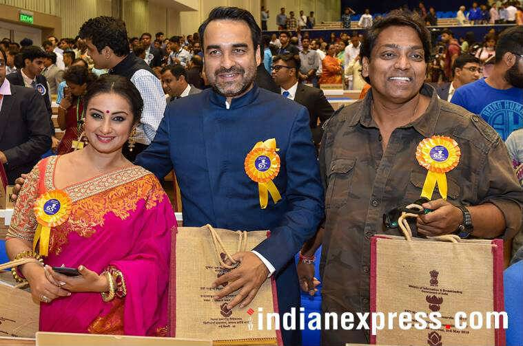 Divya Dutta, Pankaj Tripathi and Ganesh Acharya at National Film Awards 2018