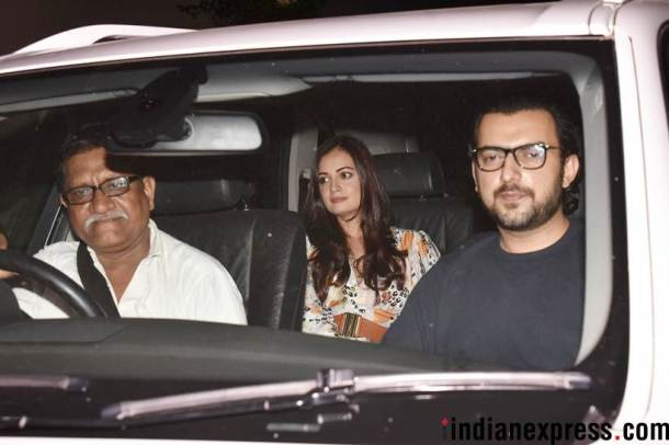 dia mirza with husband at raazi screening