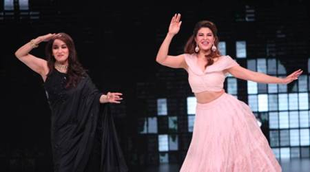 Madhuri Dixit and Jacqueline Fernandez match steps on 'Ek Do Teen' on Dance Deewane