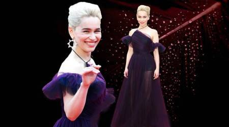 Emilia Clarke, Emilia Clarke Cannes 2018, Emilia Clarke Cannes dress, Emilia Clarke purple tulle gown, Emilia Clarke latest photos, Emilia Clarke fashion, Emilia Clarke Game of Thrones, indian express, indian express news