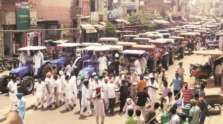 Ludhiana: Farmers protest diesel price hike, attempt to surrender tractors