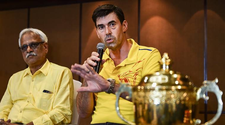 Chennai Super Kings (CSK) coach Stephen Fleming along with team CEO Kasi Viswanathan addresses the media, in Chennai