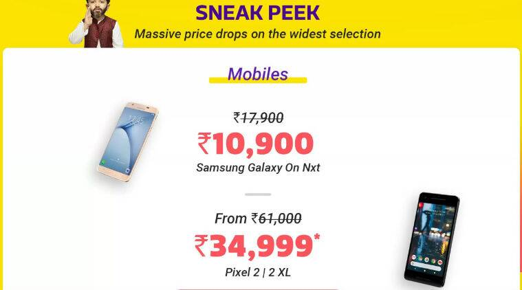 Flipkart Big Shopping Days Sale, Big Shopping Days Sales offers, Flipkart sale discounts, Google Pixel 2 XL price, Flipkart EMI offers, Google Pixel 2 XL specifications, HDFC Bank Flipkart offers, Samsung Galaxy On Nxt price