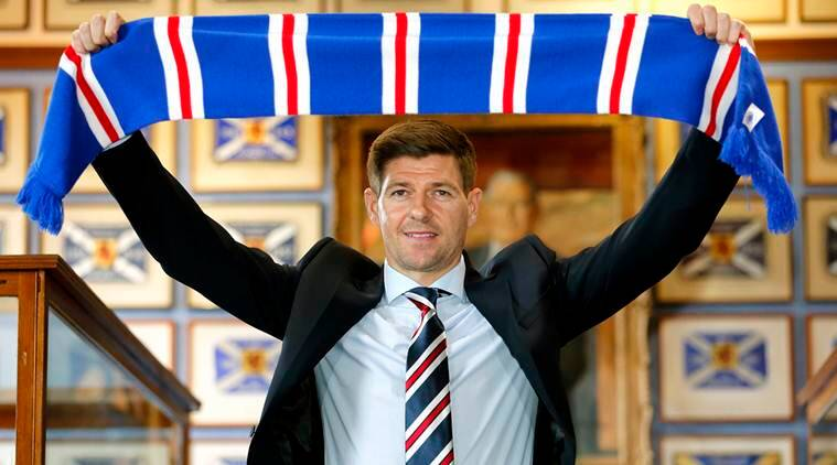 Rangers new manager Steven Gerrard is presented during a press conference