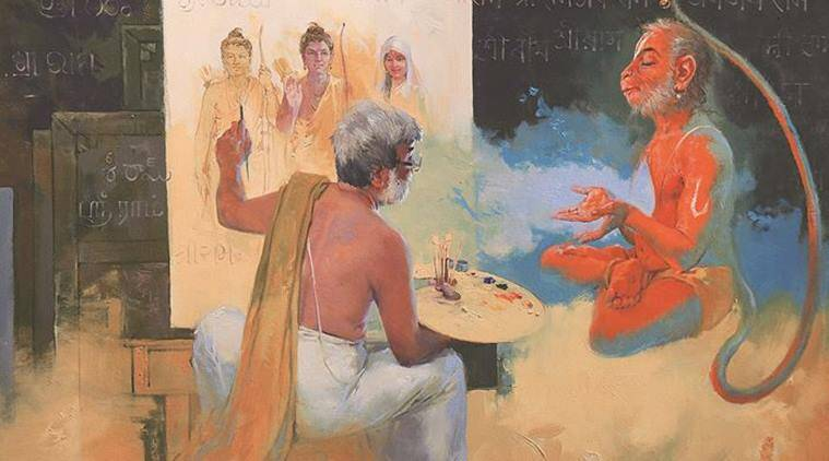 indian artists, indian paintings, indian artwork, artist Vasudeo Kamath, indian painters, indian gods paintings, indian mythology artwork, IGNCA, indian express, talk page