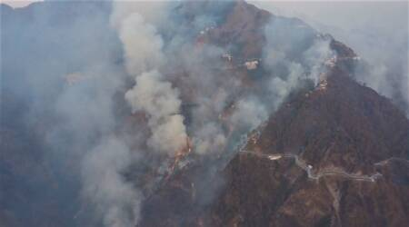 IAF choppers use bambi buckets to control forest fire in Trikuta hills, Vaishno Devi Yatra resumes