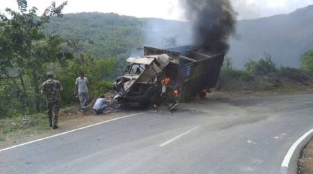 Truck set ablaze for extortion at Manipur
