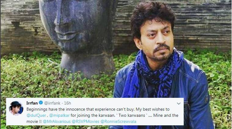 Irrfan Khan took to Twitter to wish luck to his Karwaan's co-actors