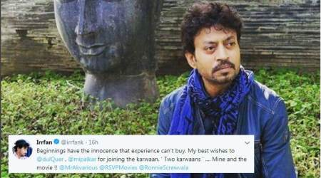 Irrfan Khan's latest tweet for Dulquer Salmaan and Mithila Palkar has gone viral