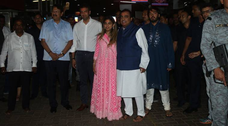 Isha Ambani and Anand Piramal at Siddhivinayak temple on Sunday. (Express photo/Varinder Chawla)