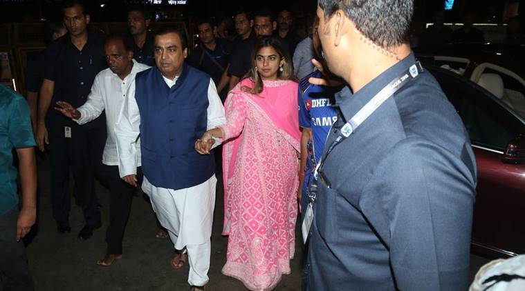 Isha Ambani and Anand Piramal at Siddhivinayak Temple in Mumbai on Sunday. (Express photo/Varinder Chawla)
