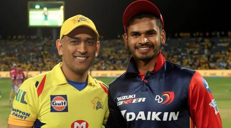CSK captain MS Dhoni and DD captain Shreyas Iyer in the IPL