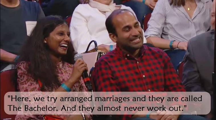 Jimmy Kimmel, Jimmy Kimmel arranged marriage video, indian couple explain arrange marriage to Jimmy Kimmel, Jimmy Kimmel show, Jimmy Kimmel viral video, Jimmy Kimmel videos, indian express, indian express news
