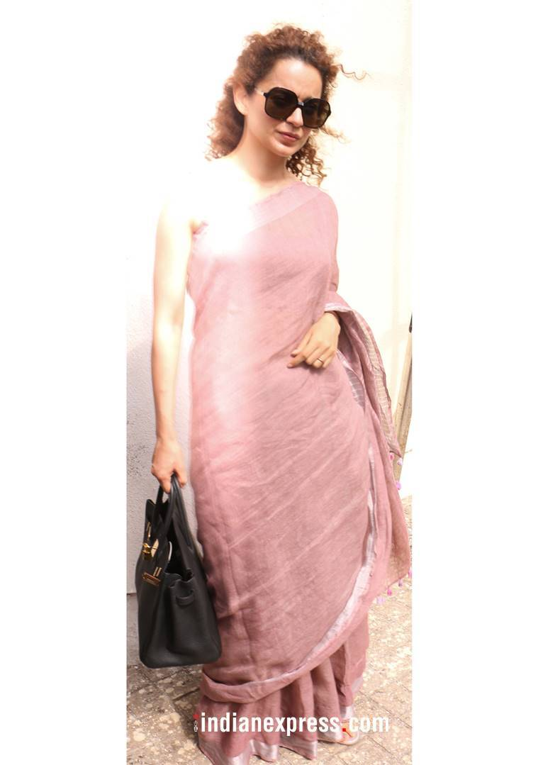 Kangana Ranaut, Kangana Ranaut Anavila sari, Kangana Ranaut fashion, Kangana Ranaut latest photos, Kangana Ranaut saris, Kangana Ranaut chiffon saris, indian express, indian express news
