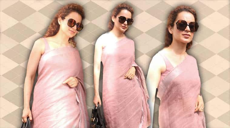 Kangana Ranaut, Kangana Ranaut Anavila sari, Kangana Ranaut fashion, Kangana Ranaut latest photos, Kangana Ranaut saris, Kangana Ranaut chiffon saris, indian express, indian express news