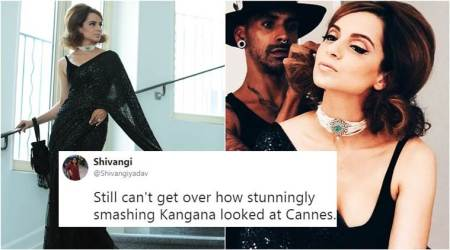 Kangana Ranaut at Cannes: Twitterati love how she 'exudes old world charm' in a black Sabyasachi sari