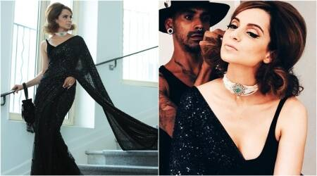 Cannes 2018: Kangana Ranaut oozes oomph as she goes retro in a sultry black Sabyasachisari