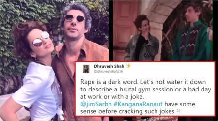 Kangana ranaut, Kangana ranaut laughing at rape jokes, kangana ranaut laughing with jim sarbh, kangana ranaut jim sarbh, kangana ranaut jim sarbh rape jokes, kangana ranaut at cannes, kangana ranaut Jim sarbh Cannes 2018, Indian express, Indian express news