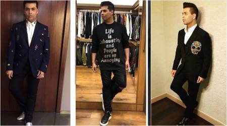 Karan Johar, Karan Johar birthday, Karan Johar fashion, Karan Johar quirky fashion, Karan Johar latest outfits, Karan Johar airport looks, Karan Johar men fashion, Karan Johar suits, indian express, indian express news
