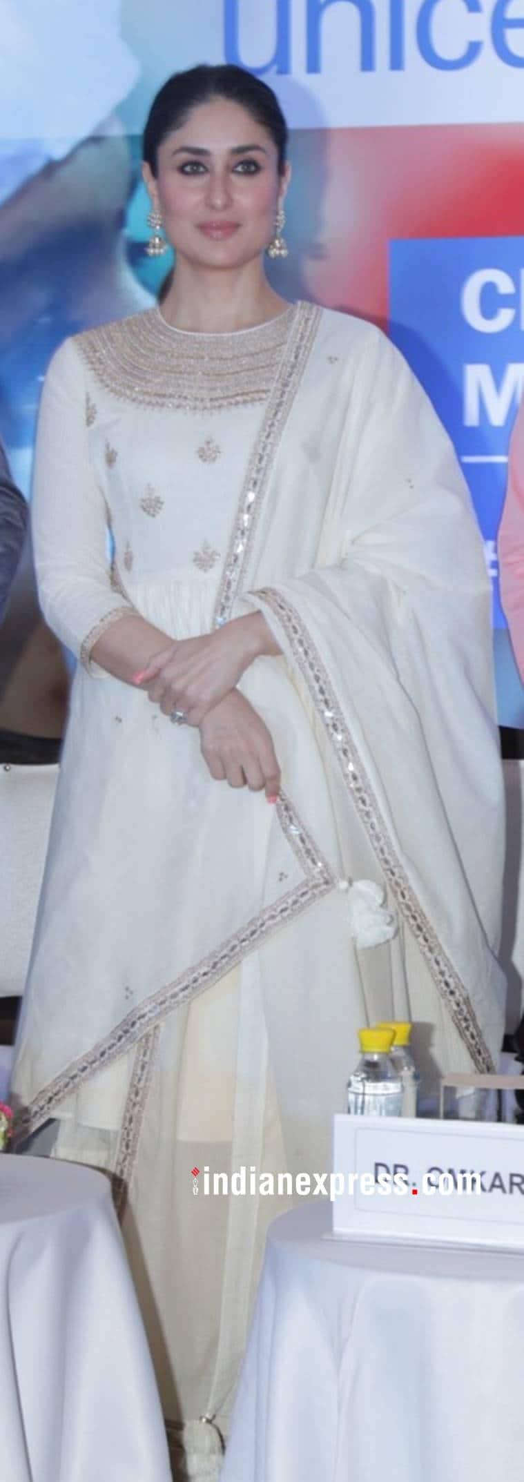 Kareena Kapoor Khan, Kareena Kapoor Khan latest photos, Kareena Kapoor Khan fashion, Kareena Kapoor Khan Punit Balana, Kareena Kapoor Khan UNICEF event, Kareena Kapoor Khan cream sharara, indian express, indian express news