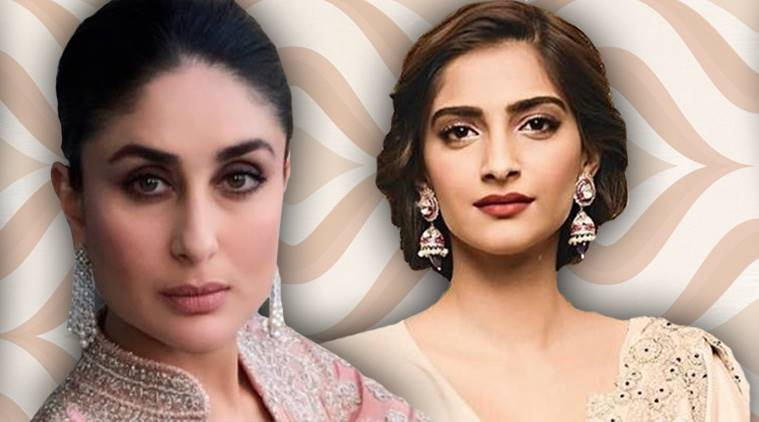 Veere Di Wedding, Kareena Kapoor Khan, Kareena Kapoor Khan Tarun Tahiliani, Kareena Kapoor Khan Veere Di Wedding promotions, Sonam Kapoor, Sonam Kapoor Good Earth, Sonam Kapoor ethnic style, indian express, indian express news
