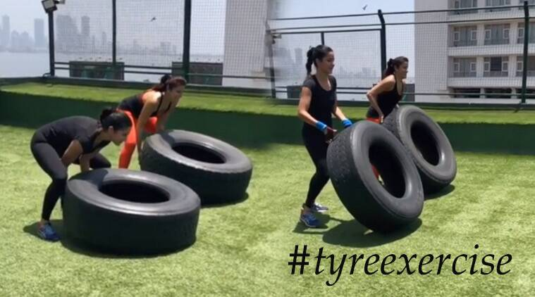 Katrina Kaif, Yasmin Karachiwala, tyre exercises, katrina kaif tyre exercise, Yasmin Karachiwala pilates, Yasmin Karchiwala Katrina Kaif fitness video, Katrina Kaif fitness, Katrina Kaif latest news, Katrina Kaif latest photos, celeb fitness, indian express, indian express news