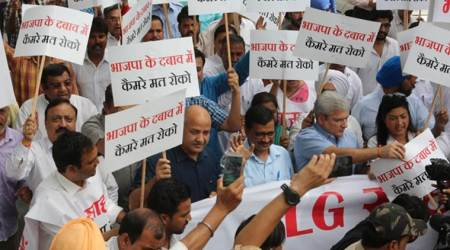 LG vs Delhi govt: CM Arvind Kejriwal leads 60 MLAs to dharna outside L-G office