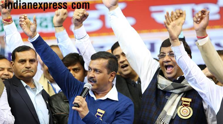 Delhi Chief Minister Arvind Kejriwal with the disqualified MLAs. (Express Photo by Gajendra Yadav)
