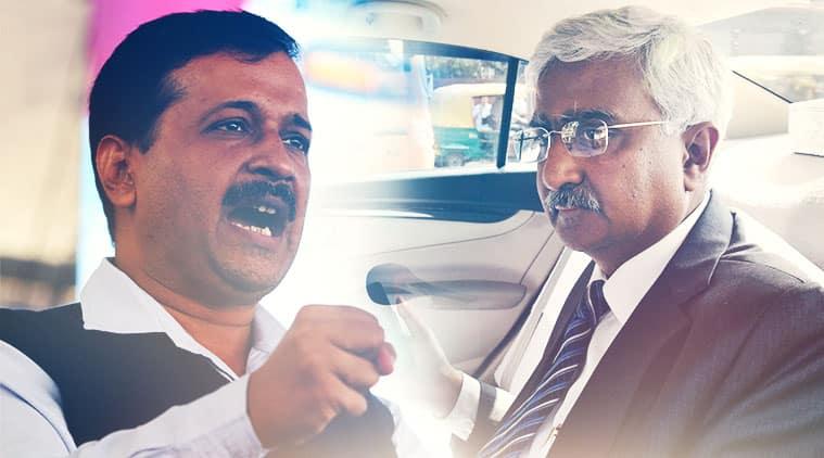 Delhi Chief Minister Arvind Kejriwal and Chief Secretary Anshu Prakash.
