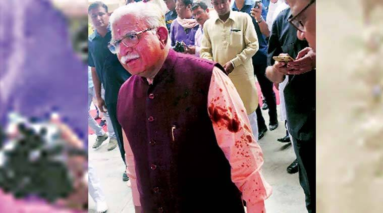 Haryana police arrest one person for attempt to throw black oil on CM Khattar khattar