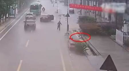 VIDEO: 11-year-old boy falls into a drain, passerby helps rescue him